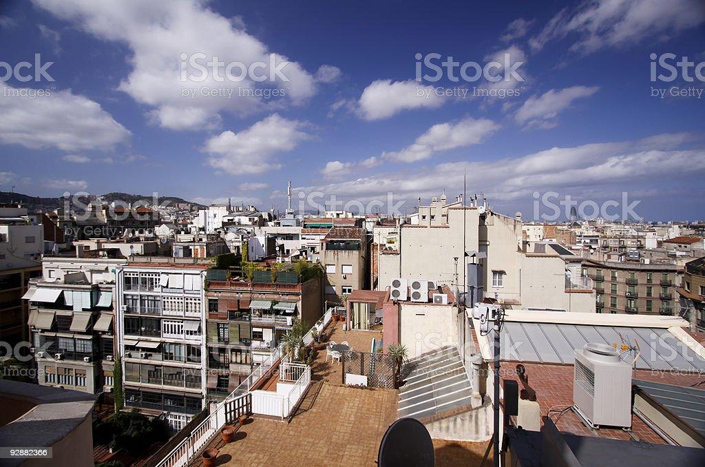 Barcelona skyline in Catalonia, Spain stock photo
