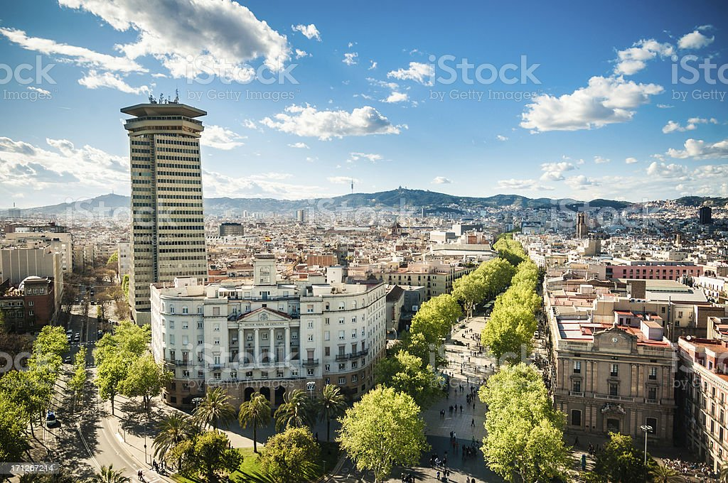 Barcelona Skyline Ramblas stock photo