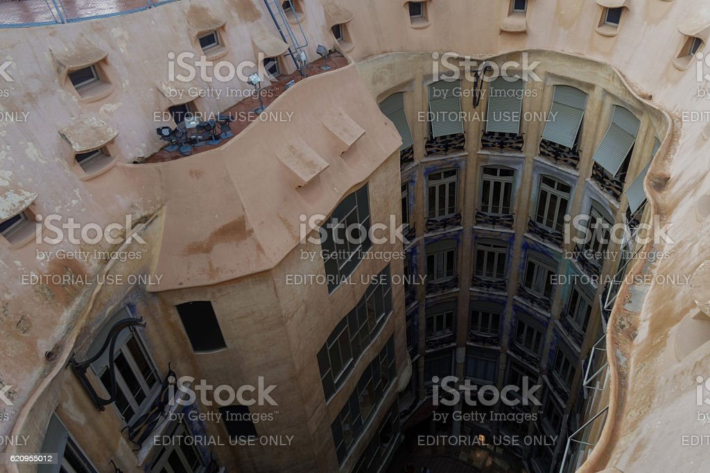 Barcelona, Spain - 24 September 2016: Casa Mila interior. stock photo