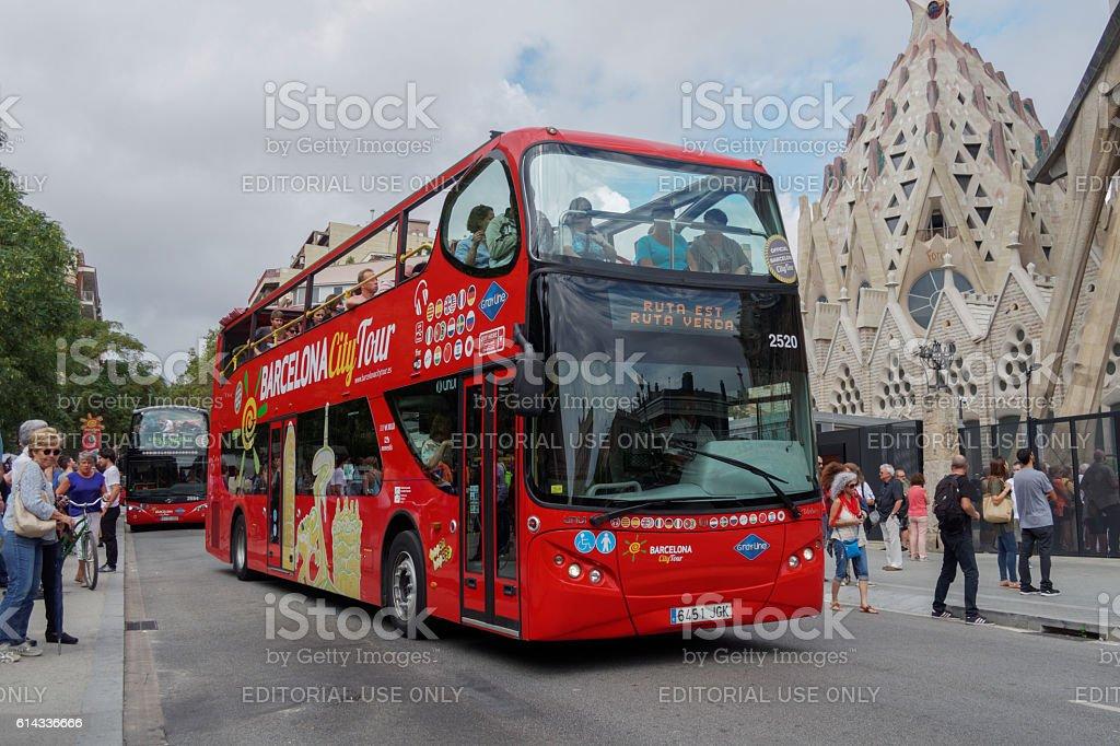 Barcelona, Spain - 24 September 2016: Tourist bus at Barcelona. stock photo