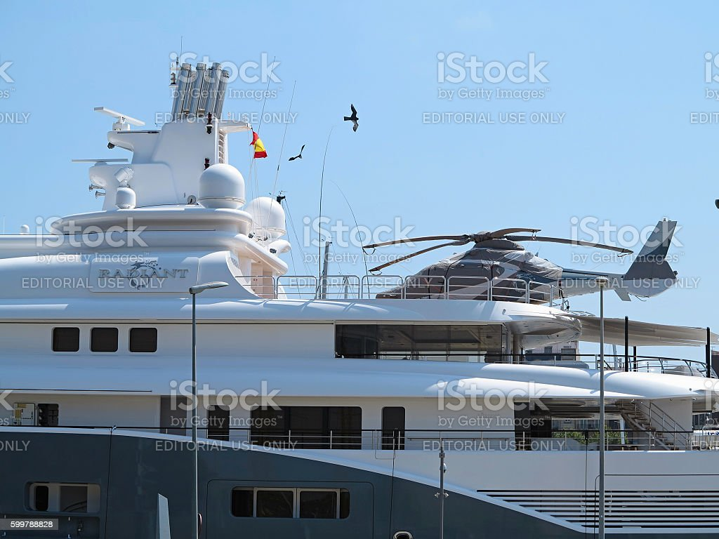 11.07.2016, Barcelona, Spain: Detail of luxury large super yacht stock photo