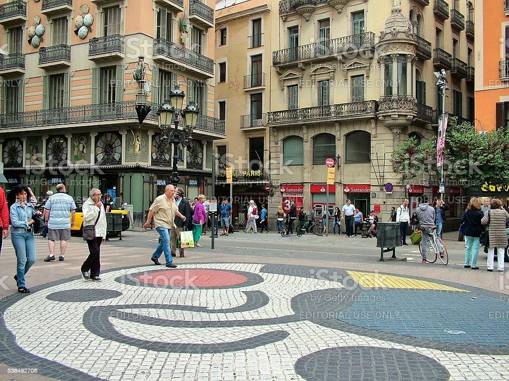 Barcelona, Spain, Joan Miró mosaic on Las Ramblas stock photo