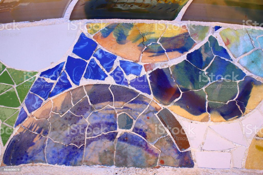 Barcelona, Spain - MAR 30th, 2017: Beautiful tile art in guell park stock photo