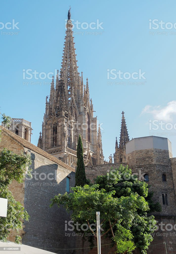Barcelona, Spain the Cathedral of Saint Eulalia towers. stock photo