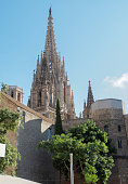 Barcelona, Spain the Cathedral of Saint Eulalia towers.