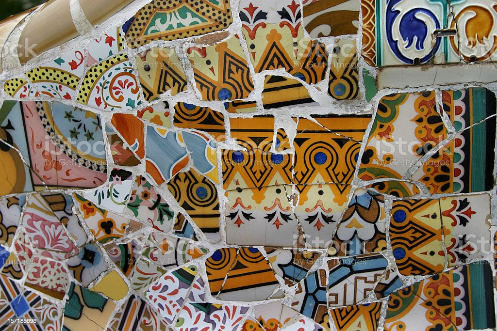 Barcelona Spain Tile Parc Guell by Antonio Gaudi royalty-free stock photo