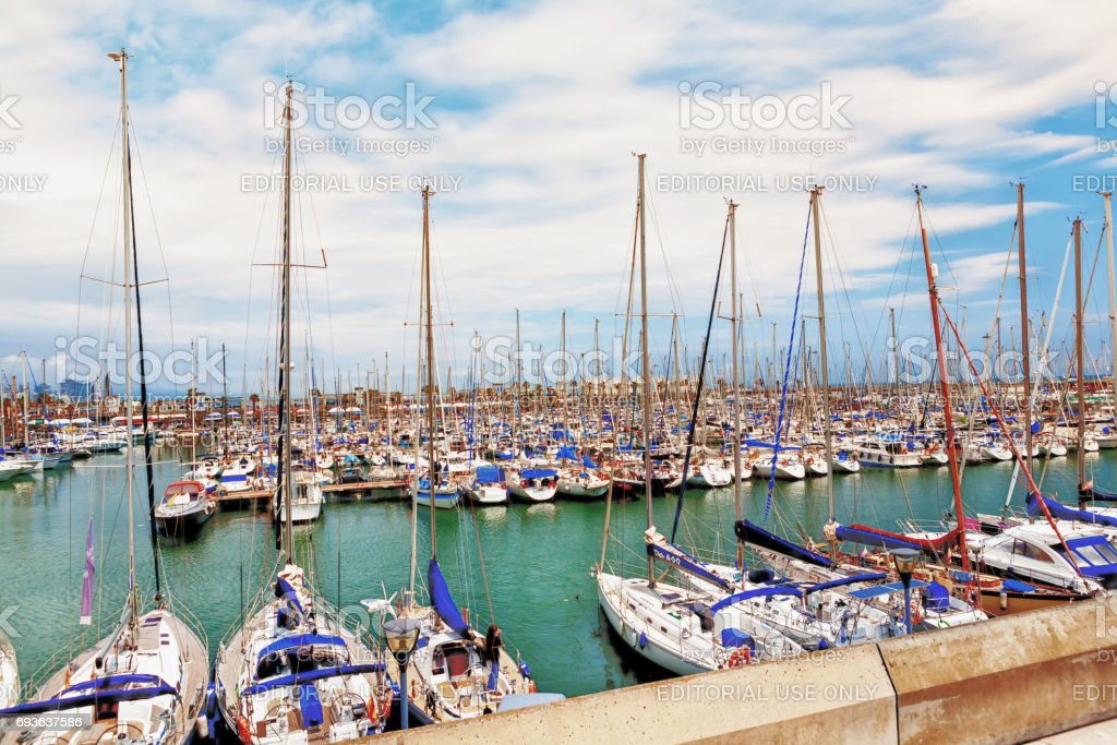 Barcelona, Spain, 2012 05 20 - view on a harbour full of sailboats stock photo
