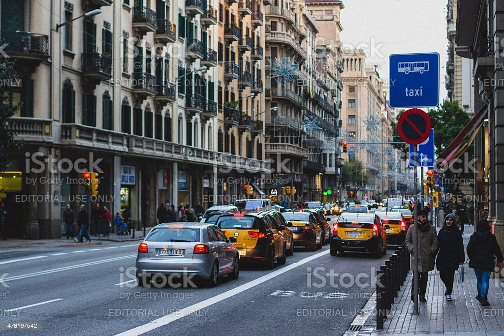 Barcelona street in the evening stock photo