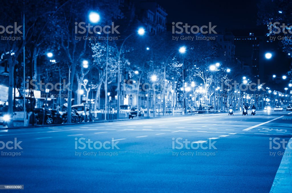 Barcelona street light in Passeig de Gracia royalty-free stock photo