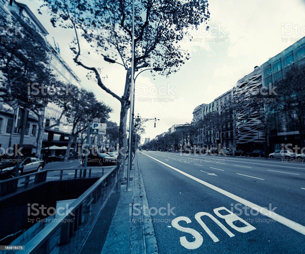Barcelona street view in Passeig de Gracia royalty-free stock photo