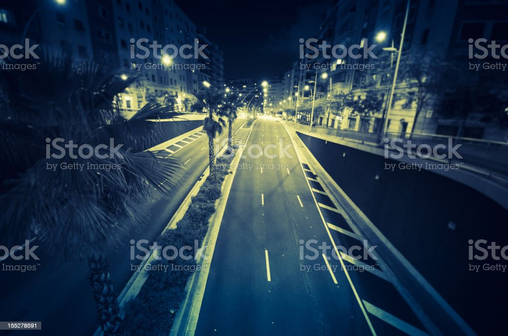 Barcelona street view on the night royalty-free stock photo