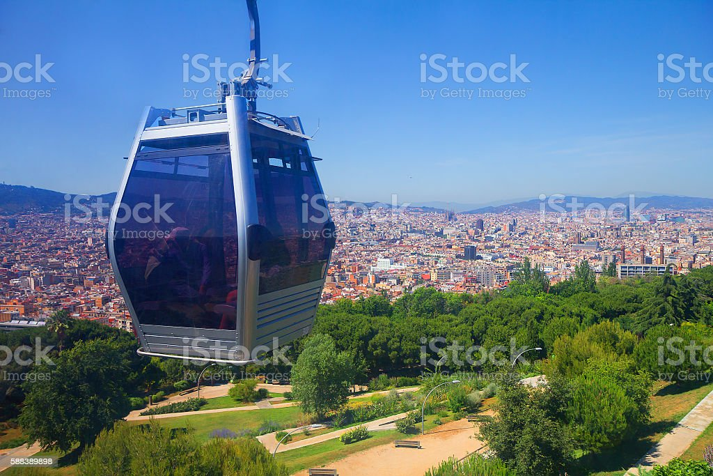 Barcelona. The view of the city from the funicular of Montjuic stock photo