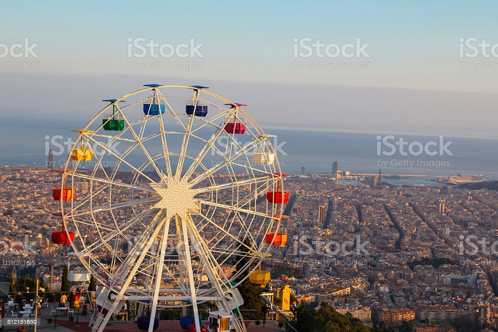 Barcelona, Tibidabo amusement park with ferris wheel stock photo