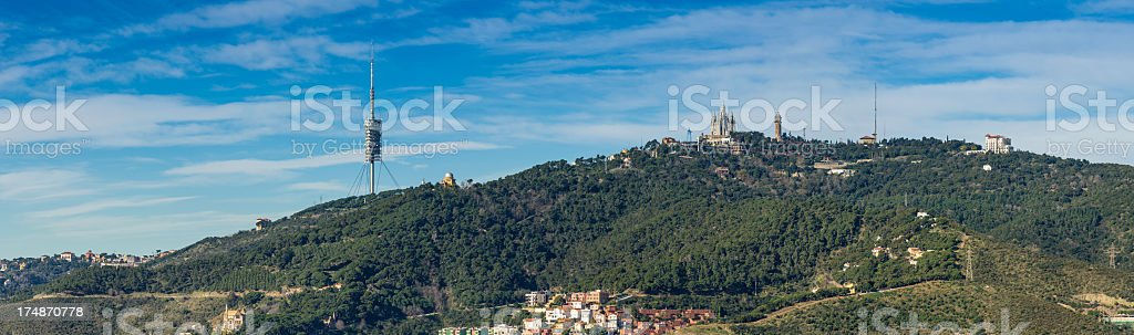 Barcelona Tibidabo Torre de Collserola panorama Spain royalty-free stock photo