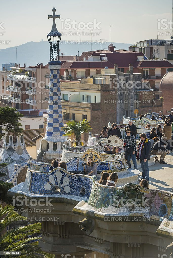 Barcelona tourist crowds at Parc Guell Gaudi landmark Spain stock photo