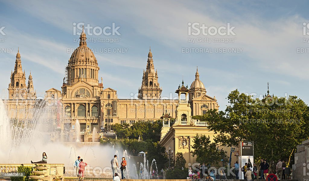 Barcelona tourists at MNAC museum fountain Spain stock photo
