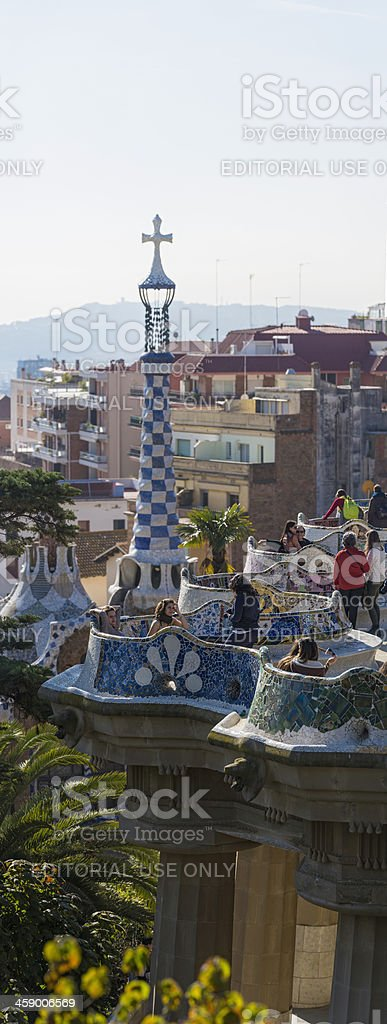 Barcelona tourists in Gaudi's Parc Guell iconic landmark Spain stock photo