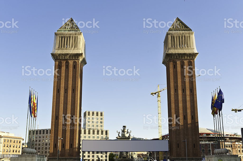 Barcelona Venetian Towers Plaça Espanya Fira sunrise Catalonia Spain stock photo