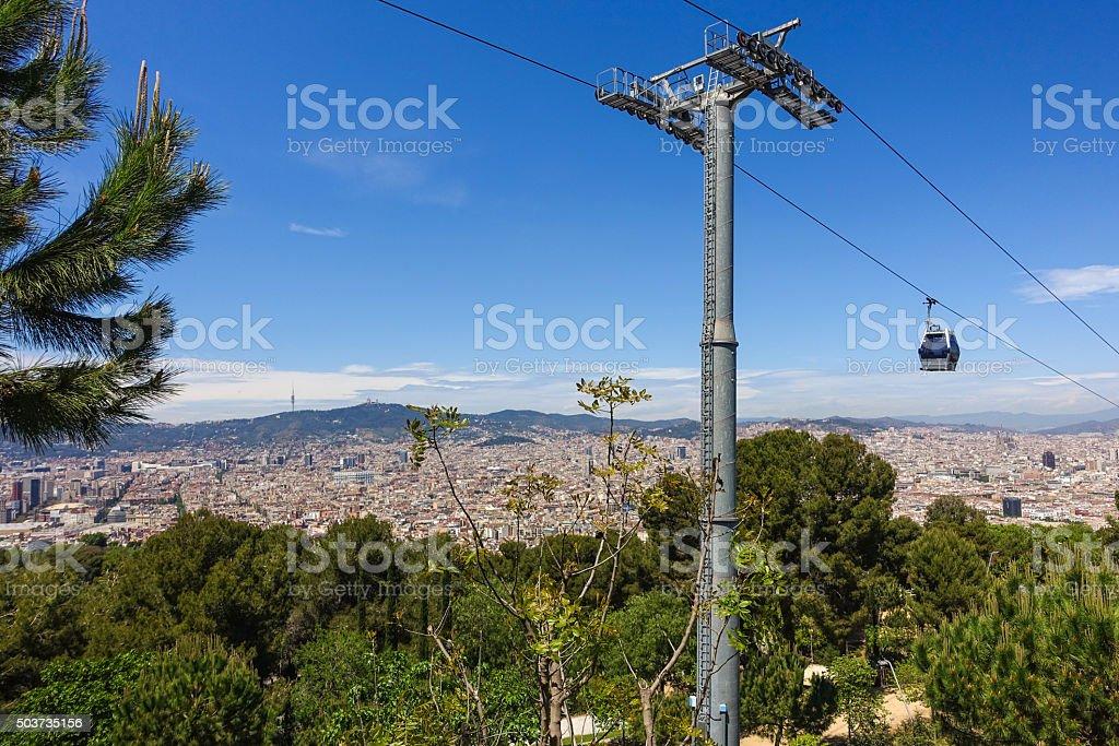 barcelona vuew air mountain teleferico tibidabo montjuic stock photo