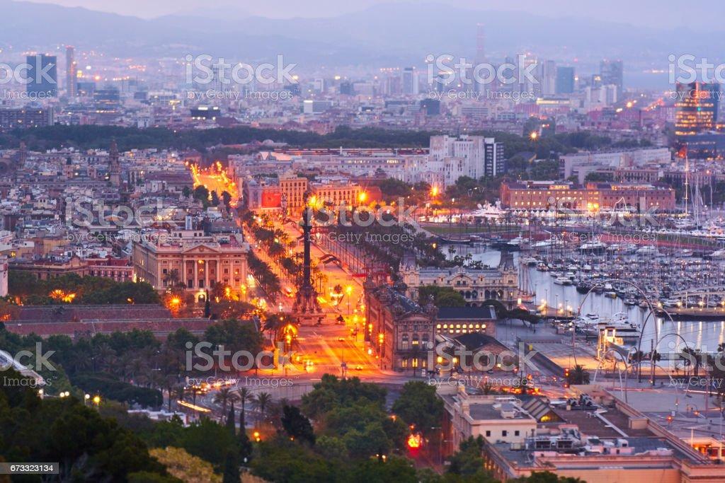 Barcelona's sunrise a cloudy day stock photo