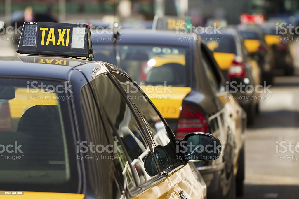 Barcelonese taxi's waiting for clients stock photo