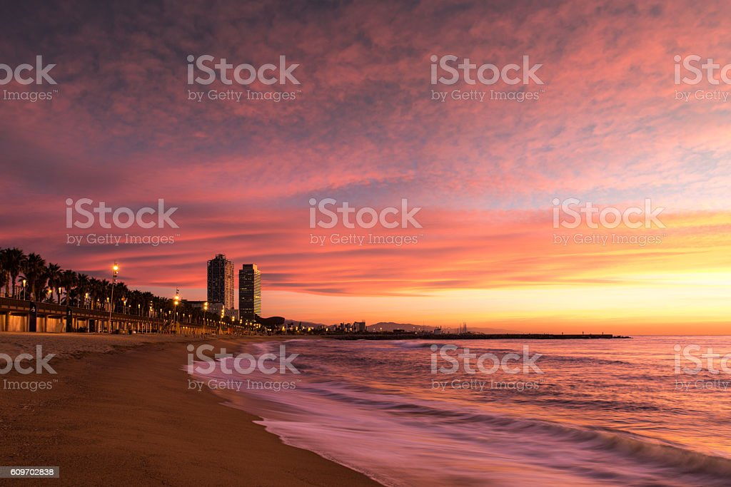 Barceloneta Beach in Barcelona stock photo