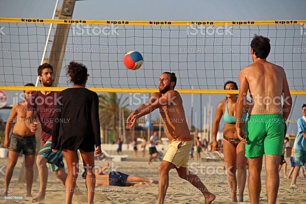 Barceloneta beach volley stock photo