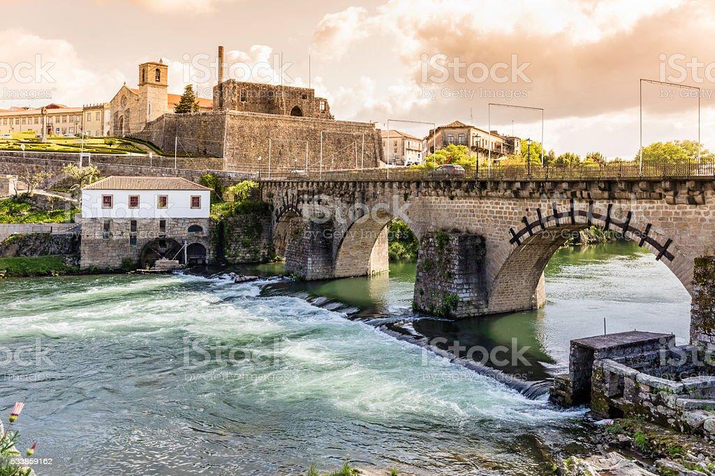 Barcelos bridge in Portugal over river Cávado stock photo