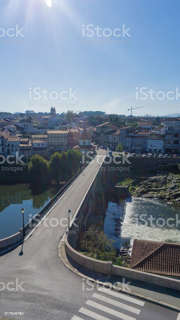 Barcelos historical bridge seen from above on a sunny day stock photo
