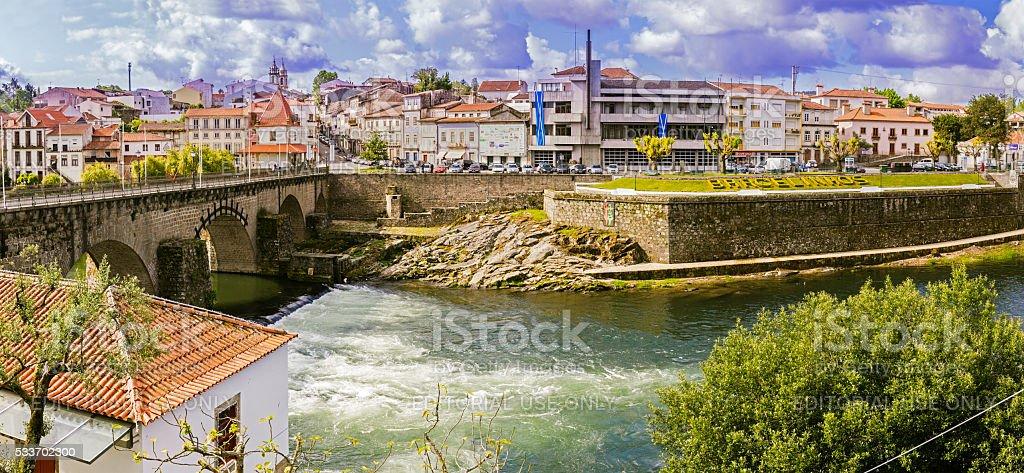 Barcelos panorama with Cávado river stock photo