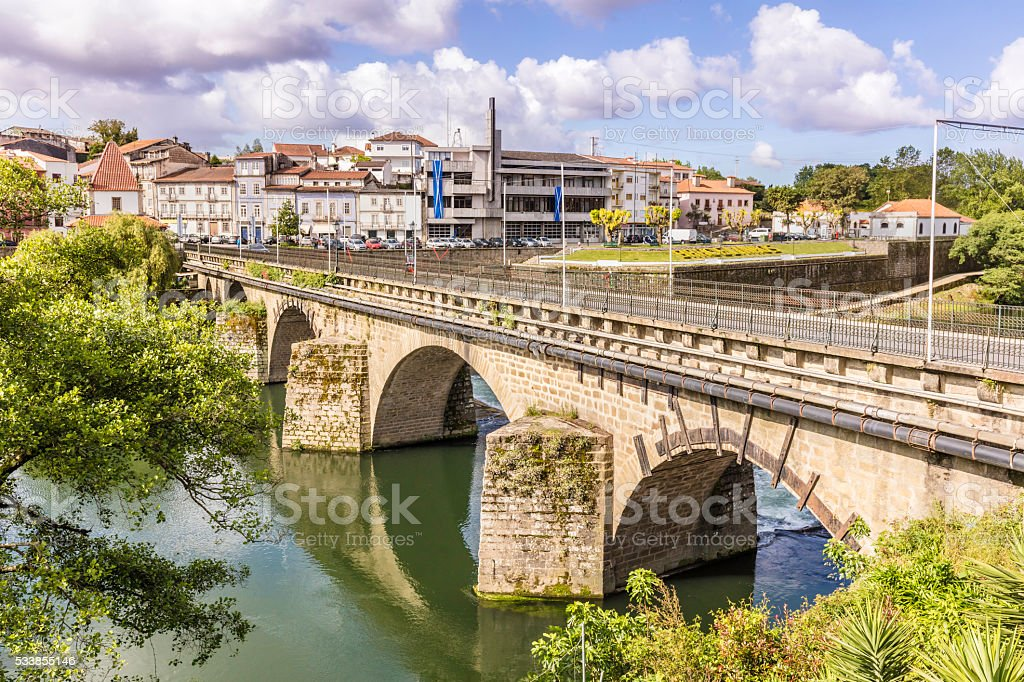 Barcelos romanesque bridge in Portugal stock photo