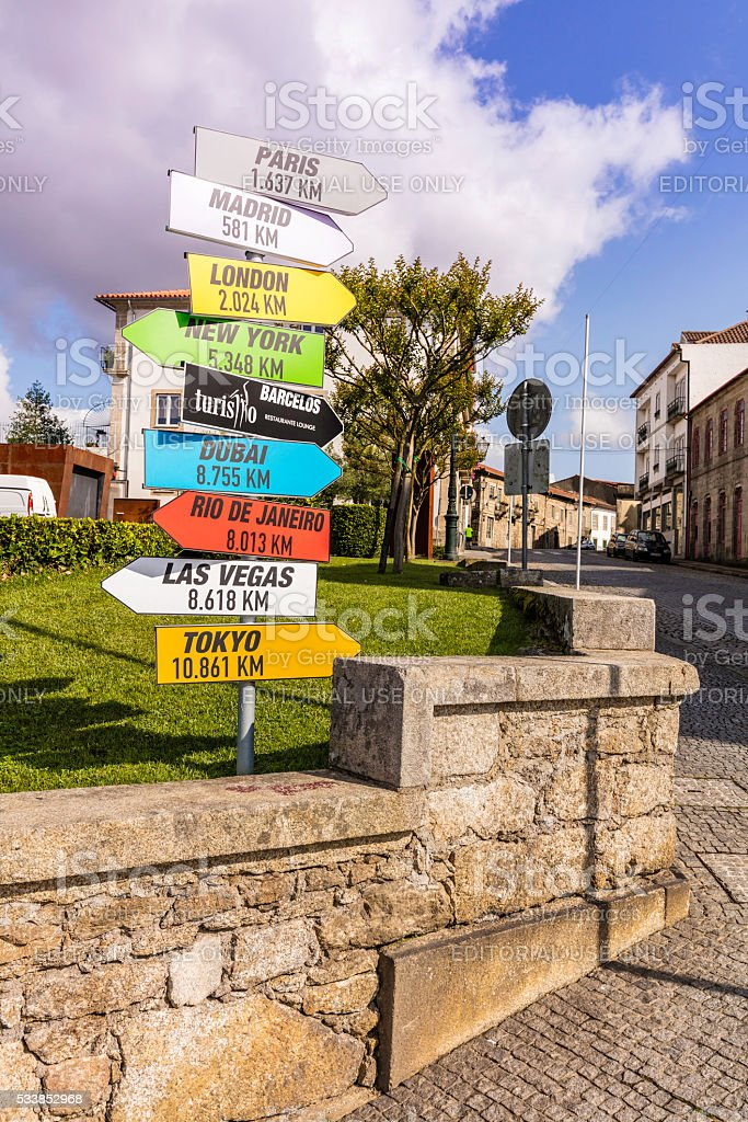 Barcelos signage for tourist at historic site stock photo