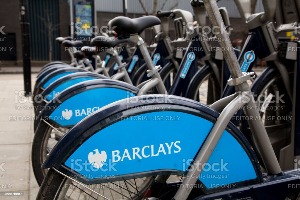 Barclays Bank sponsored Boris Bikes in London stock photo