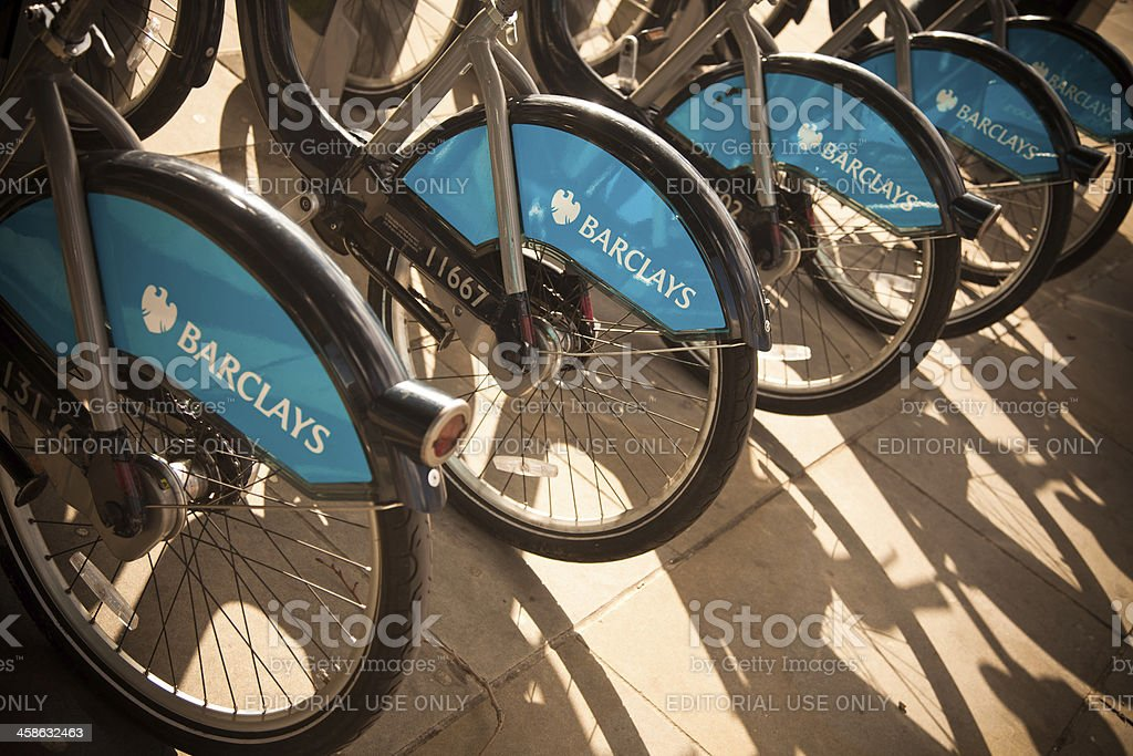 Barclays Bikes for hire in London stock photo