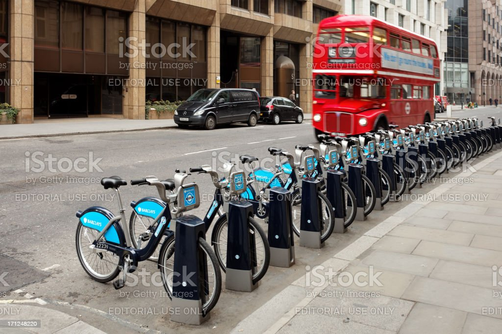 Barclays Cycle Hire station in London royalty-free stock photo