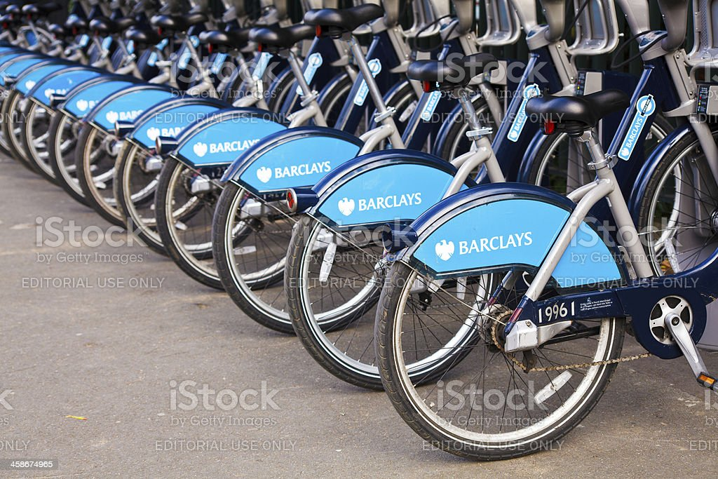 Barclays Public Bikes for Rent in London stock photo