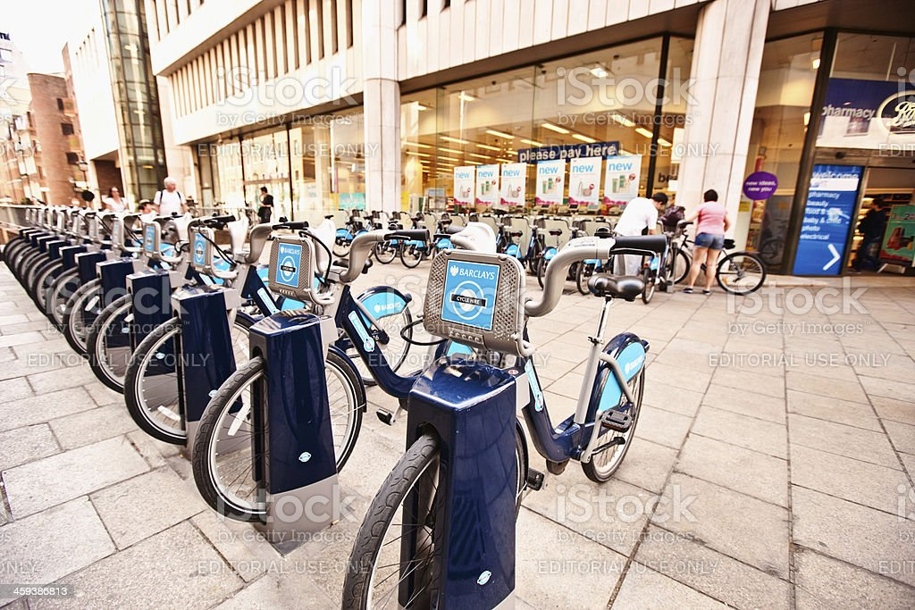Barclays Public Bikes for Rent, London, UK royalty-free stock photo