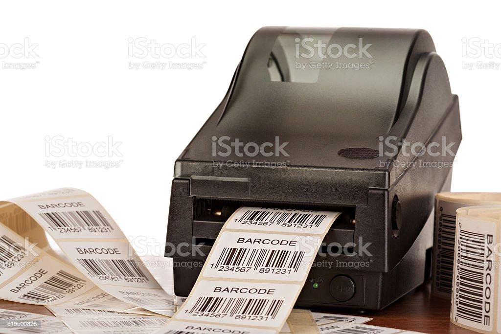 Barcode label printer. stock photo