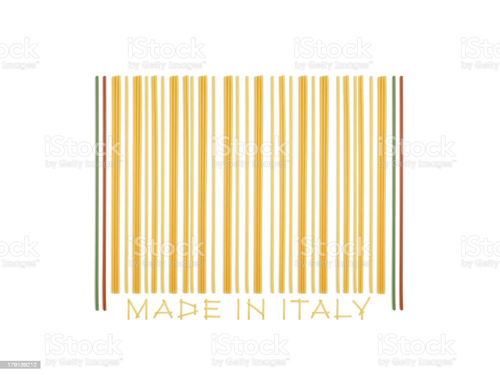 barcode made with italian spaghetti royalty-free stock photo