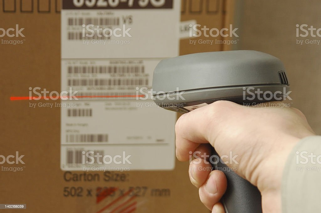 Barcode scaner in hands for a man royalty-free stock photo