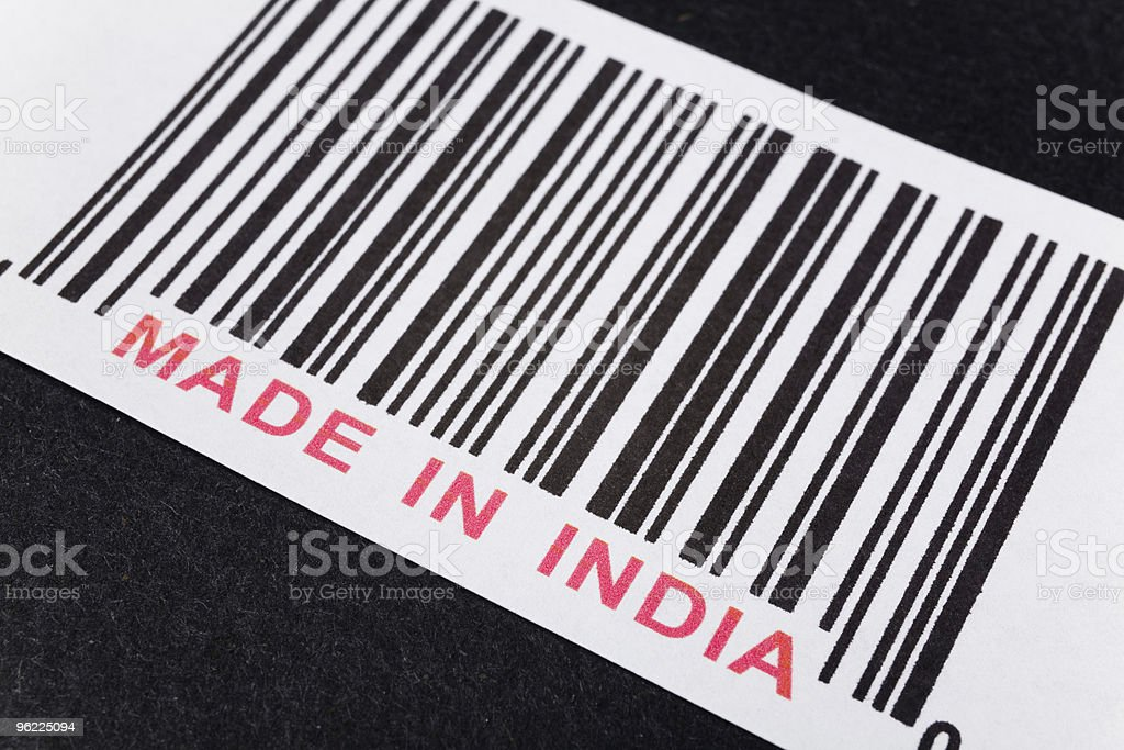Barcode that says made in India in the red stock photo
