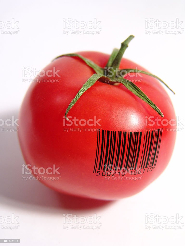 Barcode tomato stock photo