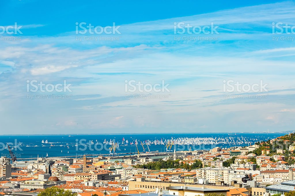 Barcolana Skyline and boats sailing in the Adriatic Sea stock photo
