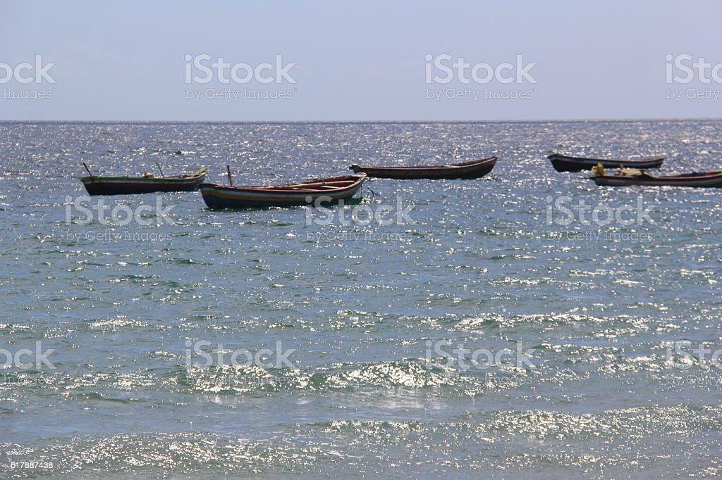 Barcos no mar stock photo