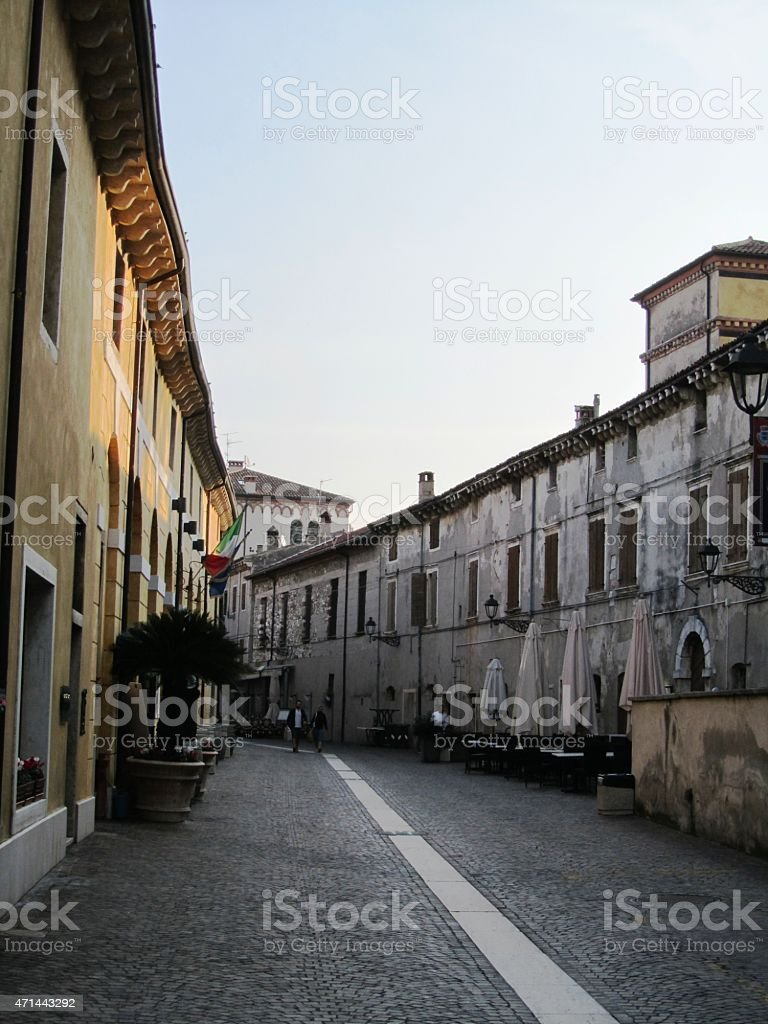 Bardolino on Lago di Garda, old Alley, Italy stock photo