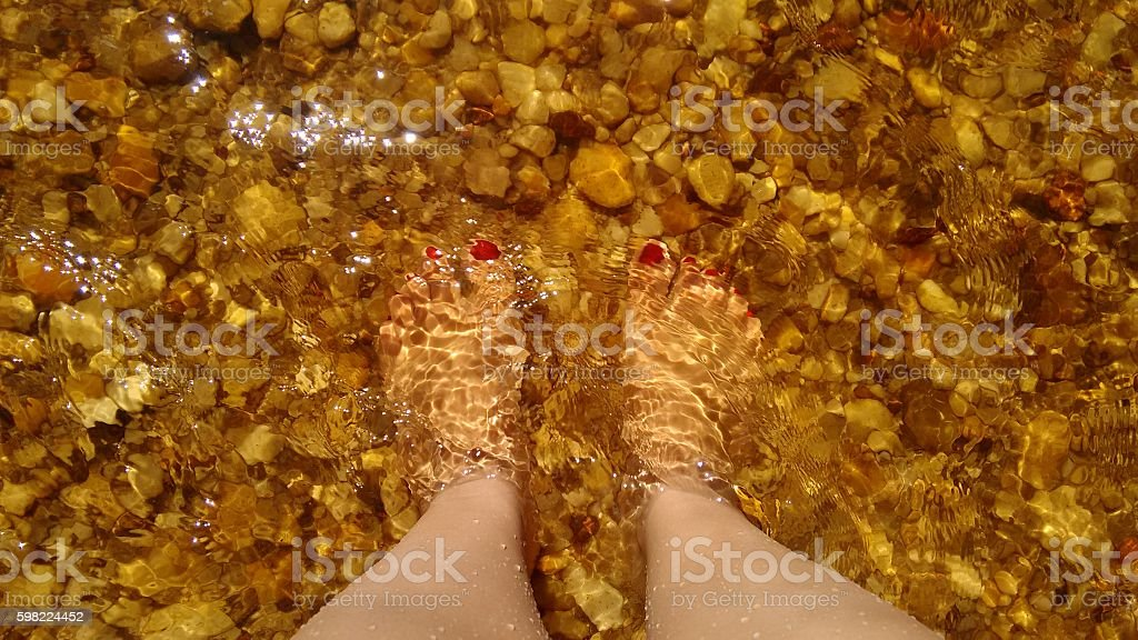Bare feet in the water stock photo