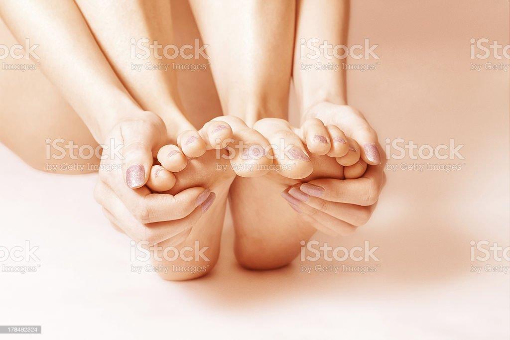 Bare female feet royalty-free stock photo