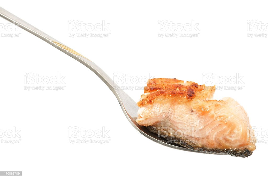 Bare salmon meat on fork stock photo