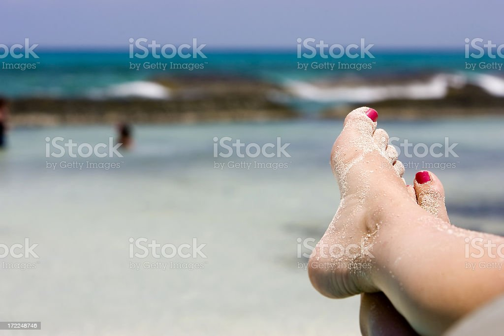 Bare Sandy Feet on Tropica Beach in Mexico, Copy Space stock photo