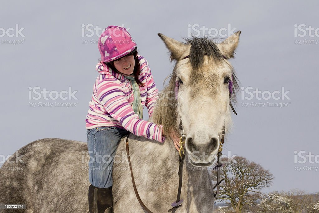 Bareback in the snow royalty-free stock photo